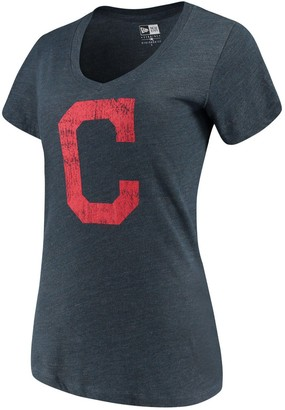 New Era Women's 5th & Ocean by Navy Cleveland Indians Basic Logo V-Neck Tri-Blend T-Shirt