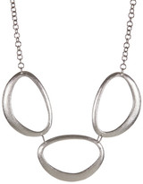 Rivka Friedman White Rhodium Clad Freeform Triple Station Necklace