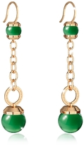Rebecca Hollywood Stone Yellow Gold Over Bronze Dangle Earring w/Green Hydrothermal Stone