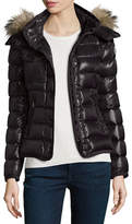 Moncler Armoise Shiny Quilted Jacket w/Fur Hood