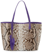 Nancy Gonzalez Erica Python Shopper Tote Bag, Natural/Purple