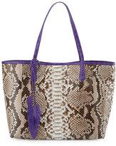 Nancy Gonzalez Erica Python Shopper Tote Bag, Natural/Purple