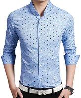 QZUnique Men's Big & Tall Plaid Pattern Slim Fit Long Sleeve Cotton Dress Shirt L