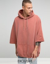 Reclaimed Vintage Super Oversized Hoodie With Overdye And 3/4 Length Sleeves