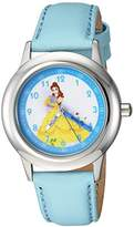 Disney Girl's 'Princess Belle' Quartz Stainless Steel Casual Watch, Color:Blue (Model: WDS000191)
