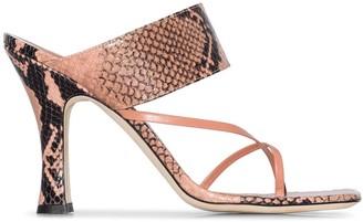 Paris Texas Snake-Print 95mm Sandals