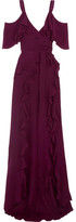 Elie Saab Ruffled Silk Crepe De Chine Maxi Dress - Plum