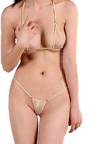 LinvMe Women's Extreme Sexy Hot Silk Micro Bikinis Set Mini Thong Swimwear