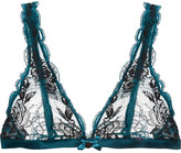 L'Agent by Agent Provocateur Dani Leavers Lace And Tulle Soft-cup Triangle Bra - Teal