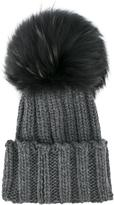 Inverni raccoon fur single pom pom beanie hat