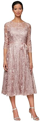 Alex Evenings Midi Length Embroidered A-Line Dress with Tie Belt (Rose) Women's Dress
