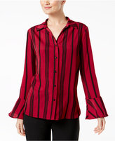 NY Collection Striped Bell-Sleeve Blouse