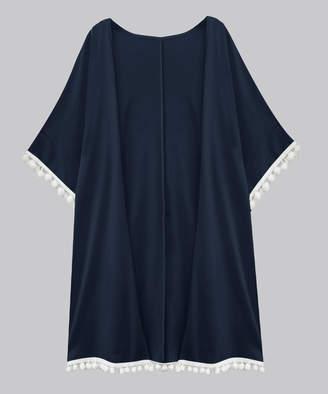A.T.U.N. Women's Open Cardigans navy - Navy Short-Sleeve Tassel-Hem Open Cardigan - Women & Plus