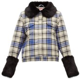 Shrimps Brutus Checked-wool Jacket - Womens - Blue Multi
