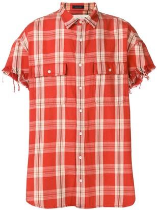 R 13 Frayed Sleeve Shirt