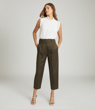 Reiss Stanton - Cropped Tapered Trousers in Khaki