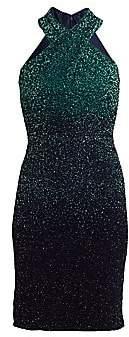 Pamella Roland Women's Ombré Sequin Halter Mini Dress