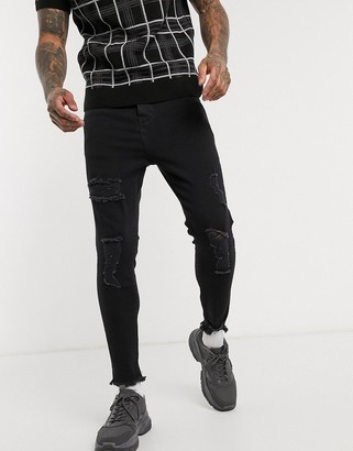 SikSilk cropped skinny jean with raw hem and rips in black