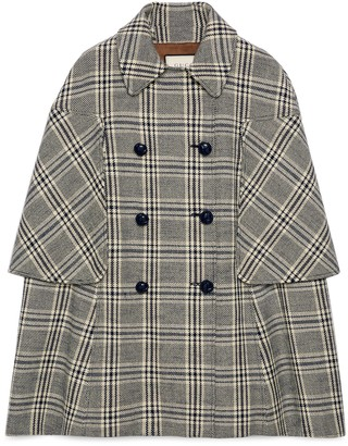 Gucci Check wool cape coat
