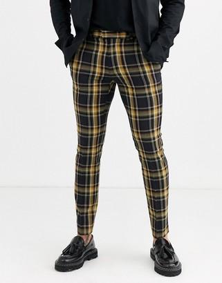 Topman skinny smart trousers in yellow check