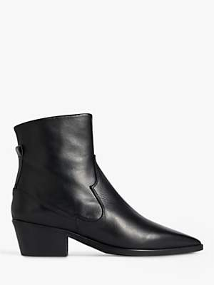 Jigsaw Austin Block Heel Leather Ankle Boots, Black