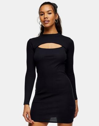 Topshop long-sleeved ribbed mini dress in black