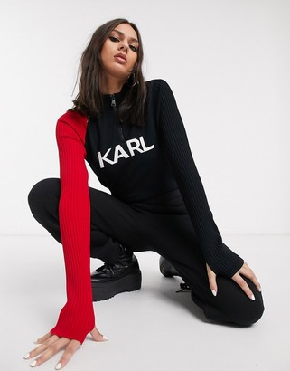 Karl Lagerfeld Paris logo zip neck knit top in black