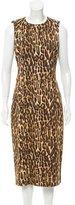 Michael Kors Leopard Printed Midi Dress