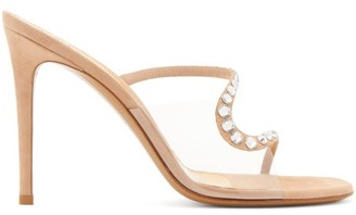 Alexandre Vauthier Ava Crystal-embellished Suede Mules - Womens - Nude