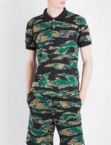 A Bathing Ape Reflective shark-print camo cotton-jersey polo shirt
