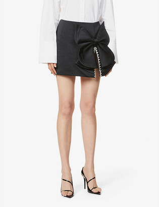 Area Bow and crystal-embellished satin mini skirt