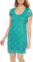 Tiana B Short-Sleeve Lace Sheath Dress - Petite