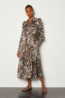Karen Millen Silk Zebra Long Button Up Dress