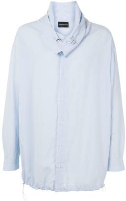 Emporio Armani Funnel Neck Striped Shirt