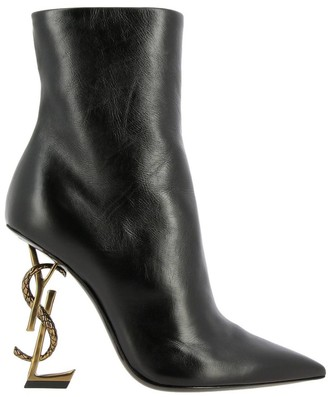 Saint Laurent Opyum Ankle Boots In Leather With Structured Heel