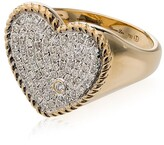 Yvonne Léon 18K gold and diamond Pave heart ring