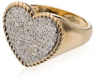 Yvonne Léon 18K gold and diamond Pave heart ring