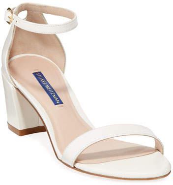 Stuart Weitzman Simple Caviar Patent Ankle-Strap Sandals