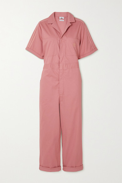 adidas Striped Cotton-twill Jumpsuit - Pink