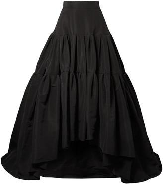 Reem Acra Flared Pleated Silk-faille Maxi Skirt