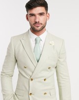 Asos DESIGN wedding super skinny double breasted suit jacket in stretch cotton linen in mint houndstooth