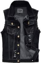 Hzcx Fashion mens brushed destoryed denim vest black sleeveless jackets -US XSTAG L