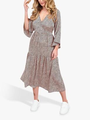 Little Mistress Tiered Spot Print Midaxi Dress, Multi