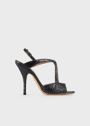 Emporio Armani High-Heeled, Crossed Leather Sandals