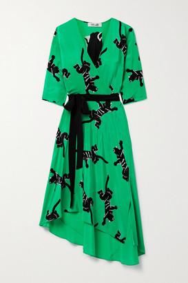 Diane von Furstenberg Eloise Asymmetric Printed Silk Crepe De Chine Wrap Dress - Green