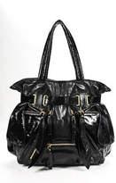 Isabella Fiore Black Patent Leather Gold Tone Zip Pockets Tote Shoulder Handbag