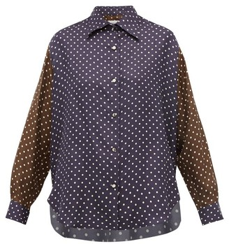 La Prestic Ouiston Varenne Polka-dot Silk Shirt - Navy Multi