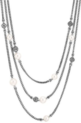 John Hardy Chain Classic Sterling SIlver 7-10MM Freshwater Pearl Multi-Row Necklace