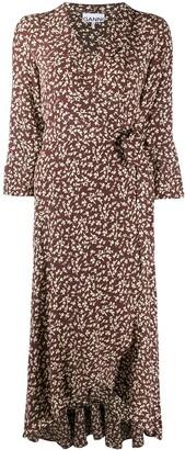 Ganni v-neck patterned dress