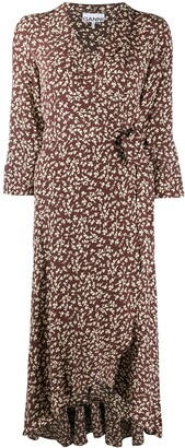 Ganni V-Neck Patterned Dress